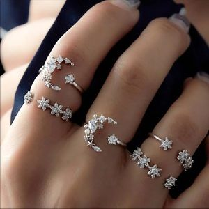 Jewelry - Boho Crystal Moon Finger Knuckle Ring Set